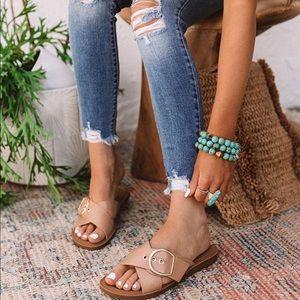 Tan Adjustable Buckle Criss Cross Sandals